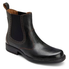 Black Leather Pull On Chelsea Boots