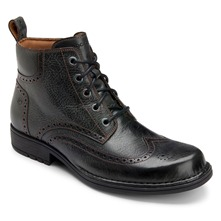 Black Leather Perforated Toe Boots