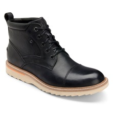 Black Leather Union Street Cap Ankle Boots