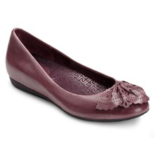 Burgundy Leather Perforated Fan Pumps