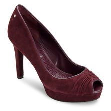 Wine Leather Janae Rouched Shoes 10cm Heel