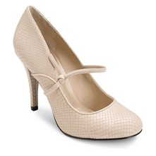 Cream Leather Presia Mary Janes Shoes 9cm Heel