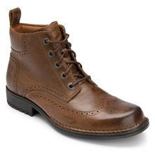 Brown Perforated Toe Leather Boots