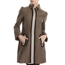 Brown/Grey Cotton Striped Coat