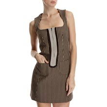 Brown/Grey Striped Dress