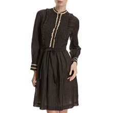Anthracite Wool/Linen Crochet Trim Dress