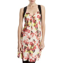 Cream/Red Floral Cross Back Dress