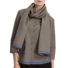 Brown/Blue Checked Detachable Scarf Shirt