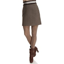 Brown/Grey Striped Pencil Skirt