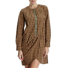 Tan/Brown Checked Cotton Tunic