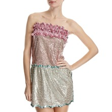 Pink/Mint Sequin Bandeau Dress