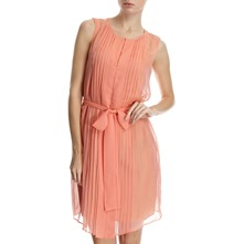 Coral Sleeveless Pleat Panel Dress