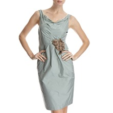 Sage Green Corsage Ruche Dress