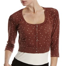 Brown Spotted Cropped Cardigan