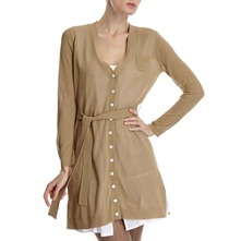 Beige Lined V-Neck Cardigan