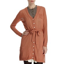 Rust Lined V-Neck Cardigan