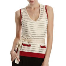 Ivory/Red Striped Top