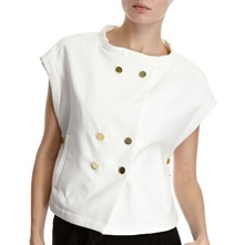 White Short Sleeve Gold Button Jacket