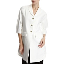 White Gold Button Overcoat