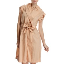 Nude Shawl Collar Cotton Shirt Dress