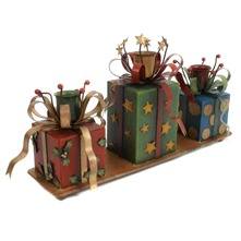 Green/Red Gift Box Candle Holder