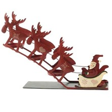 Red Santa on Sleigh Ornament