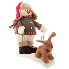 Multicolour Snowman/Deer Figurine