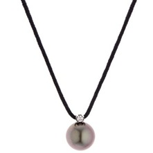 Black/Dark Grey Freshwater Pearl/Diamond Necklace 8-9mm