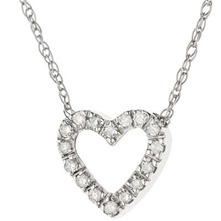 Silver Heart Diamond Encrusted Pendant Necklace