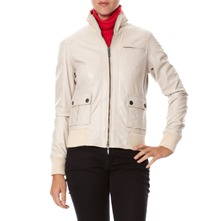 Blouson en cuir mastic