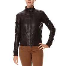 Blouson en cuir choco