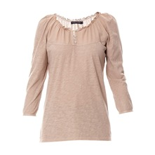 Blouse bi-matire beige