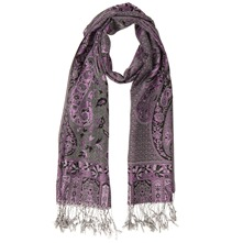 Purple/Silver Fringed Pashmina