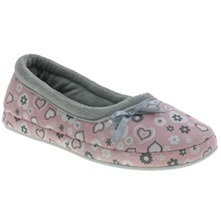 Pink Heart Print Slippers