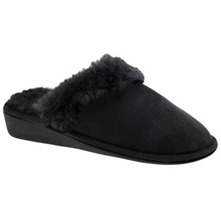 Black Faux Fur Wedge Slippers