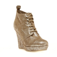 Boots compenss Tangy en cuir marron mtallis