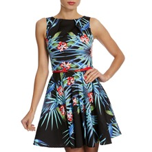 Black/Multi Tropical Print Dress