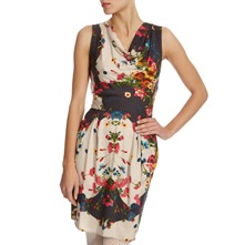 Cream/Navy Floral Print Dress