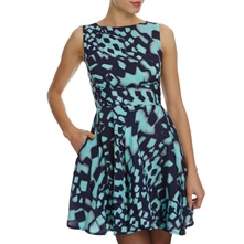 Teal/Navy Printed Dress
