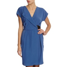 Dusky Blue V-Neck Wrap Dress