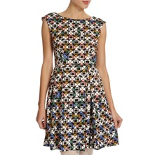 Black/Multi Clover Print Dress