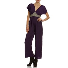 Plum Embellished Wide Leg Jumpsuit 26