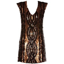 Bronze Silk Sequin Shift Dress