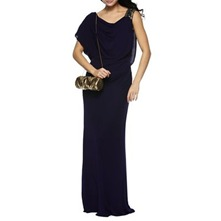 Purple Embellished Shoulder Evening Dress