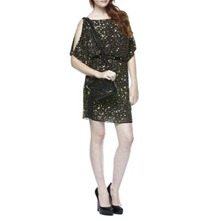 Black Split Sleeve Sequin T-Shirt Dress