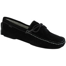 Men footwear: Black Suede Shearling Clayton Slippers