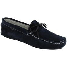 Men footwear: Navy Suede Shearling Clayton Slippers