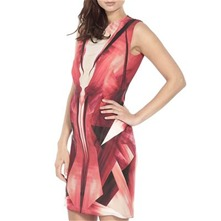 Red Guardian Abstract Silk Dress