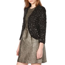 Black Open Front Beaded Jacket