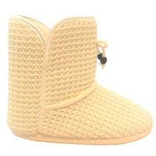 Cream Knitted Slipper Boots
